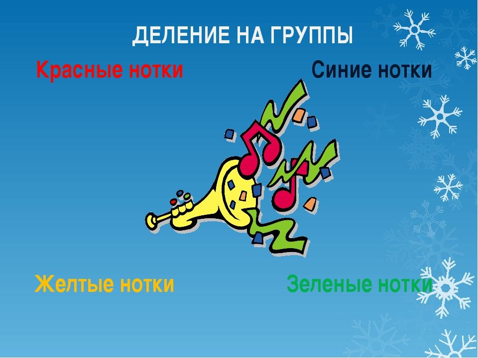Красные нотки Синие нотки Желтые нотки Зеленые нотки ДЕЛЕНИЕ НА ГРУППЫ
