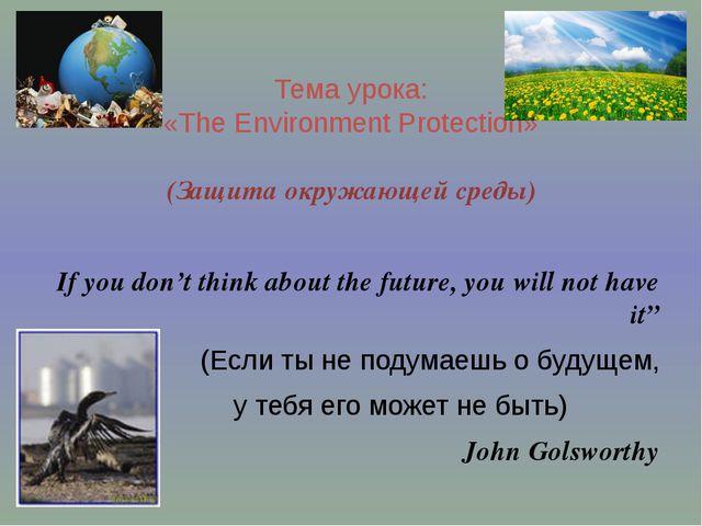 Тема урока: «The Environment Protection» (Защита окружающей среды) If you do...