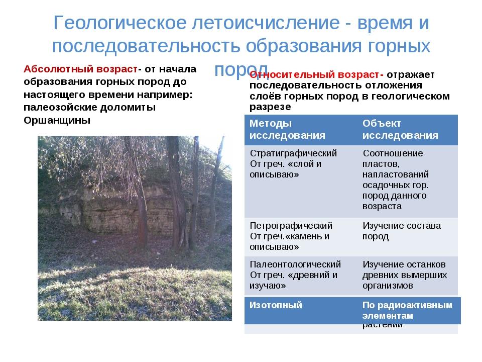 Геологическое летоисчисление - время и последовательность образования горных...