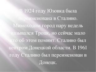 В 1924 году Юзовка была переименована в Сталино. Мимоходом город пару недель