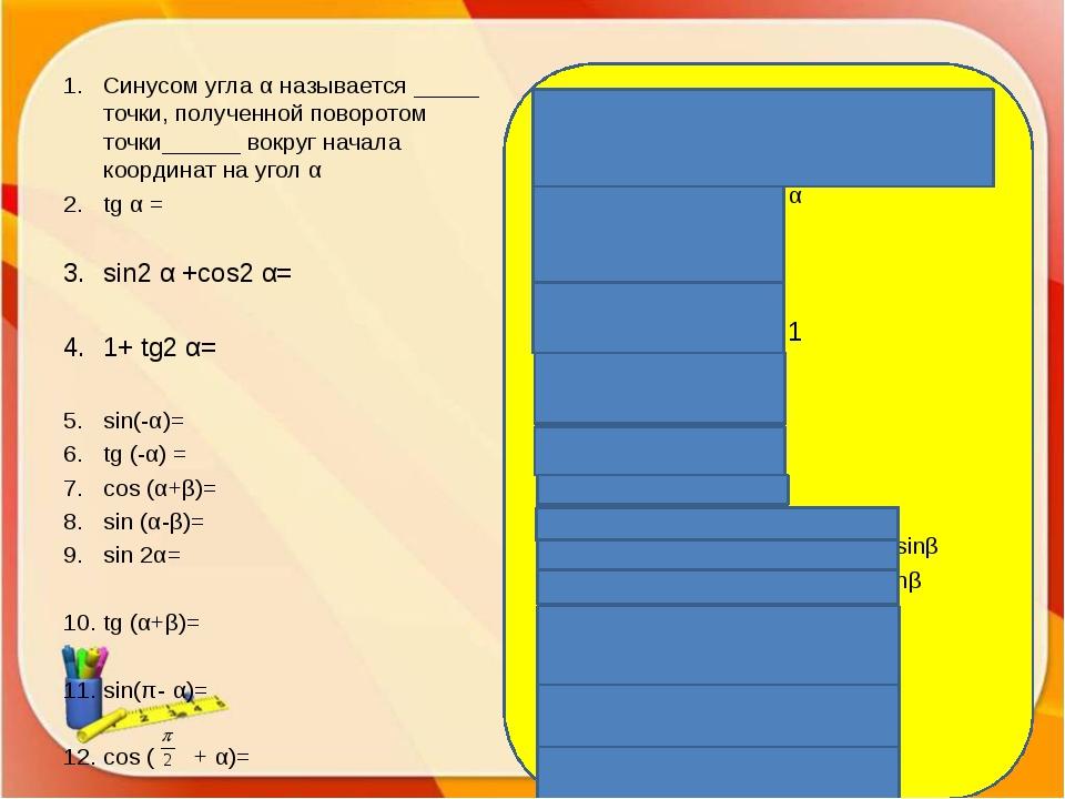 Синусом угла α называется ордината точки, полученной поворотом точки (1;0) в...