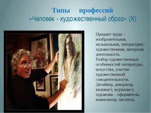 Типы профессий «Человек - художественный образ» (X) . Предмет труда – изобраз