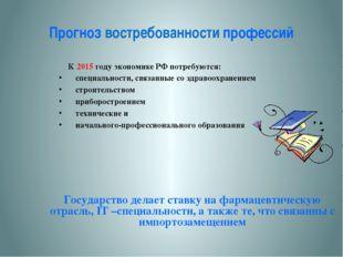 Прогноз востребованности профессий К 2015 году экономике РФ потребуются: сп