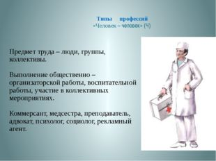 Типы профессий «Человек – человек» (Ч) Предмет труда – люди, группы, коллект