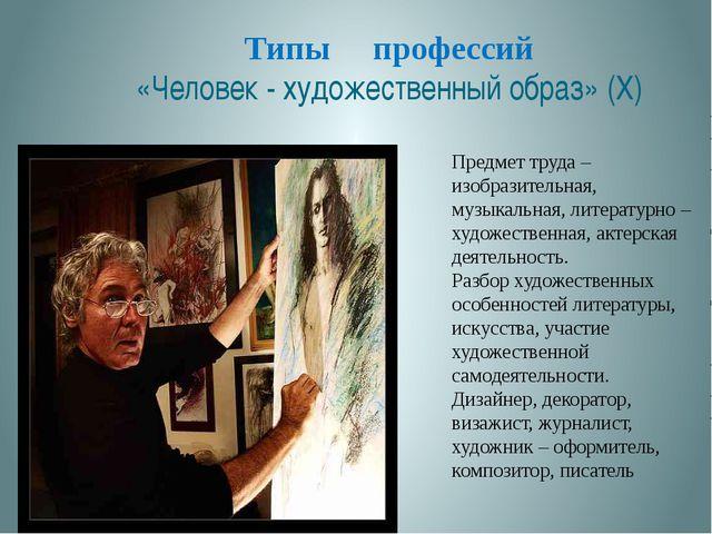 Типы профессий «Человек - художественный образ» (X) . Предмет труда – изобраз...