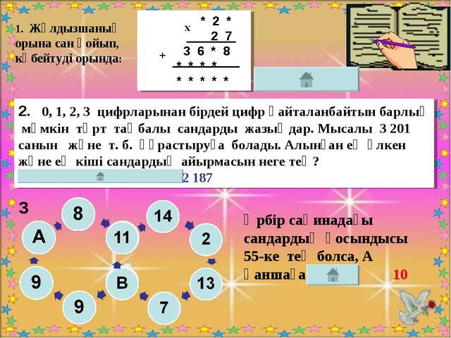 2. 0, 1, 2, 3 цифрларынан бірдей цифр қайталанбайтын барлық мүмкін төрт таңба...