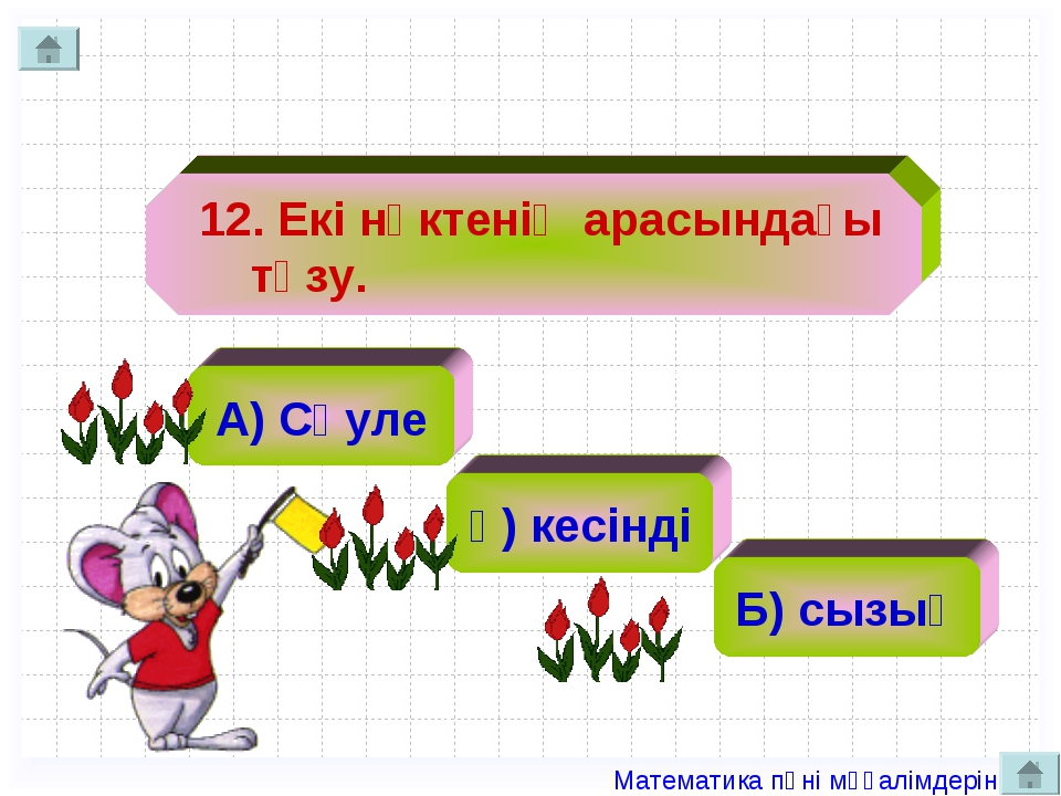 12. Екі нүктенің арасындағы түзу. А) Сәуле ә) кесінді Б) сызық Математика пә...