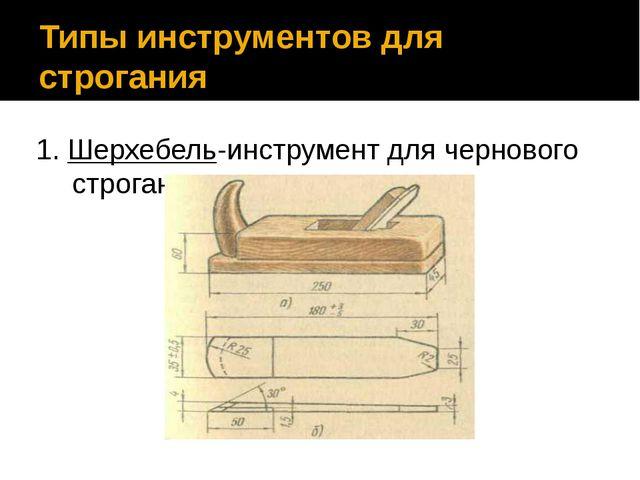 Типы инструментов для строгания 1. Шерхебель-инструмент для чернового строгания