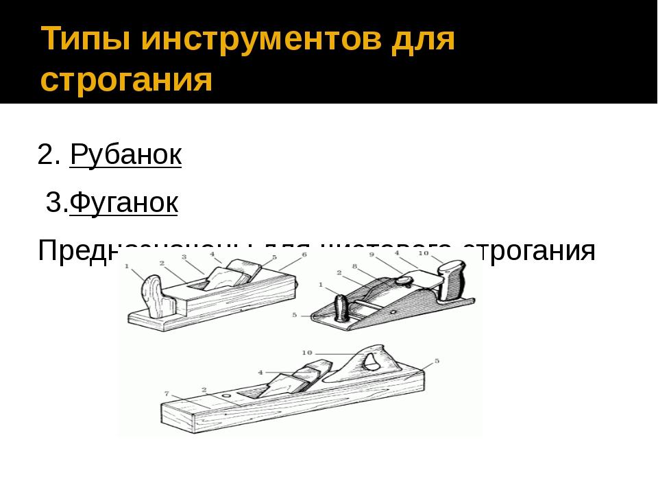 Типы инструментов для строгания 2. Рубанок 3.Фуганок Предназначены для чистов...