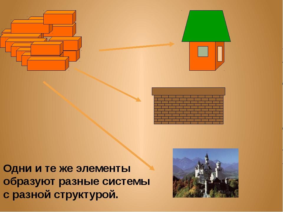 Одни и те же элементы образуют разные системы с разной структурой.