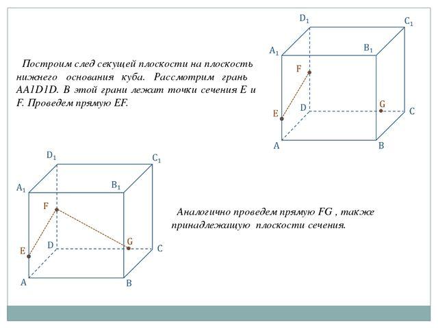 Построим след секущей плоскости на плоскость нижнего основания куба. Рассмот...