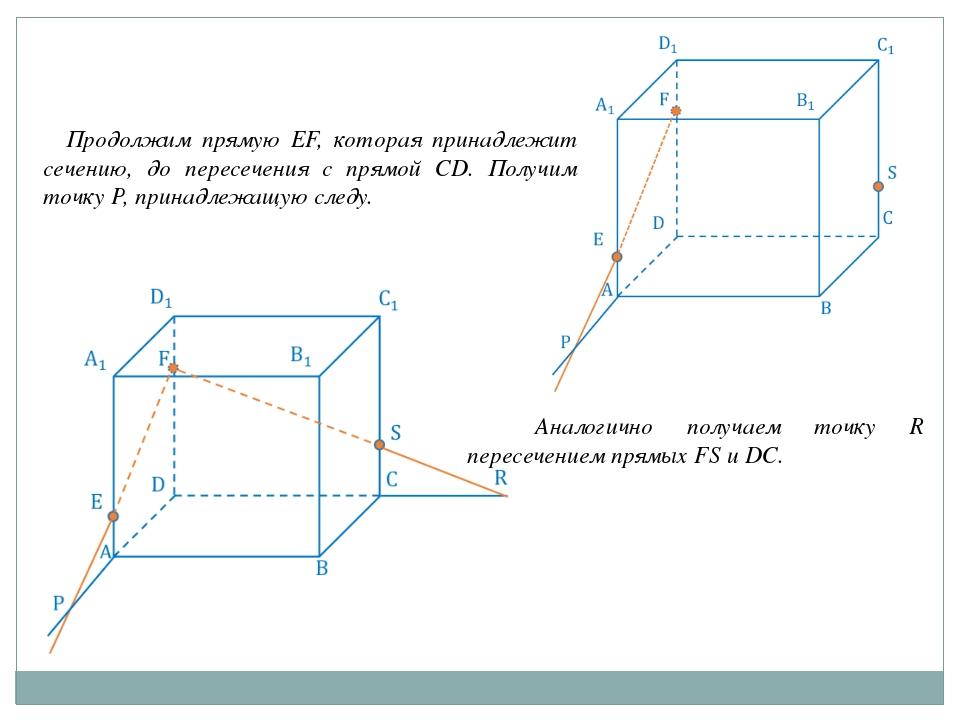 Продолжим прямую EF, которая принадлежит сечению, до пересечения с прямой CD...