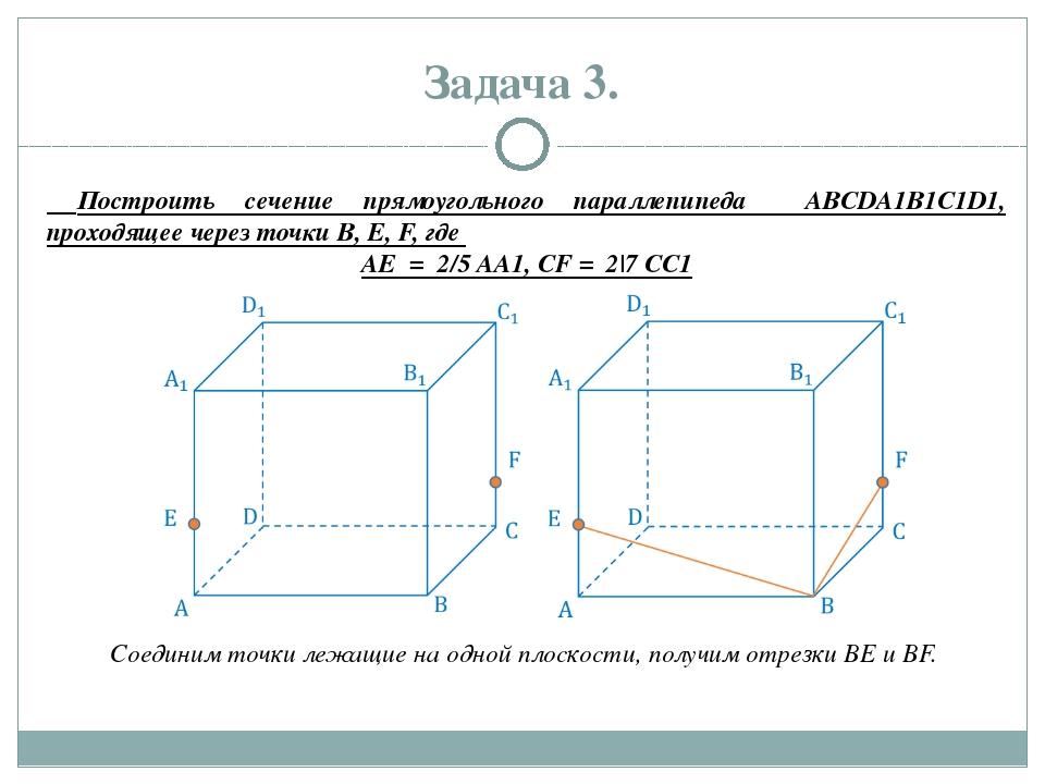 Задача 3. Построить сечение прямоугольного параллепипеда ABCDA1B1C1D1, проход...