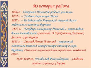 Из истории района 1806 г. - Открыто Анинское уездное училище. 1822 г. – Созд