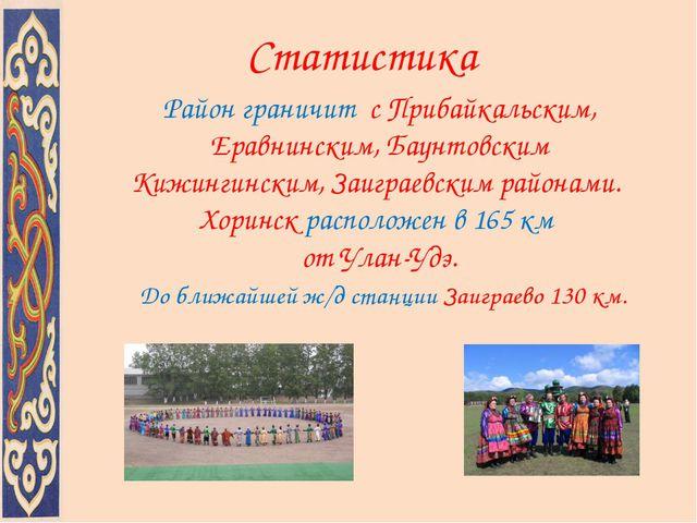 Район граничит с Прибайкальским, Еравнинским, Баунтовским Кижингинским, Заигр...