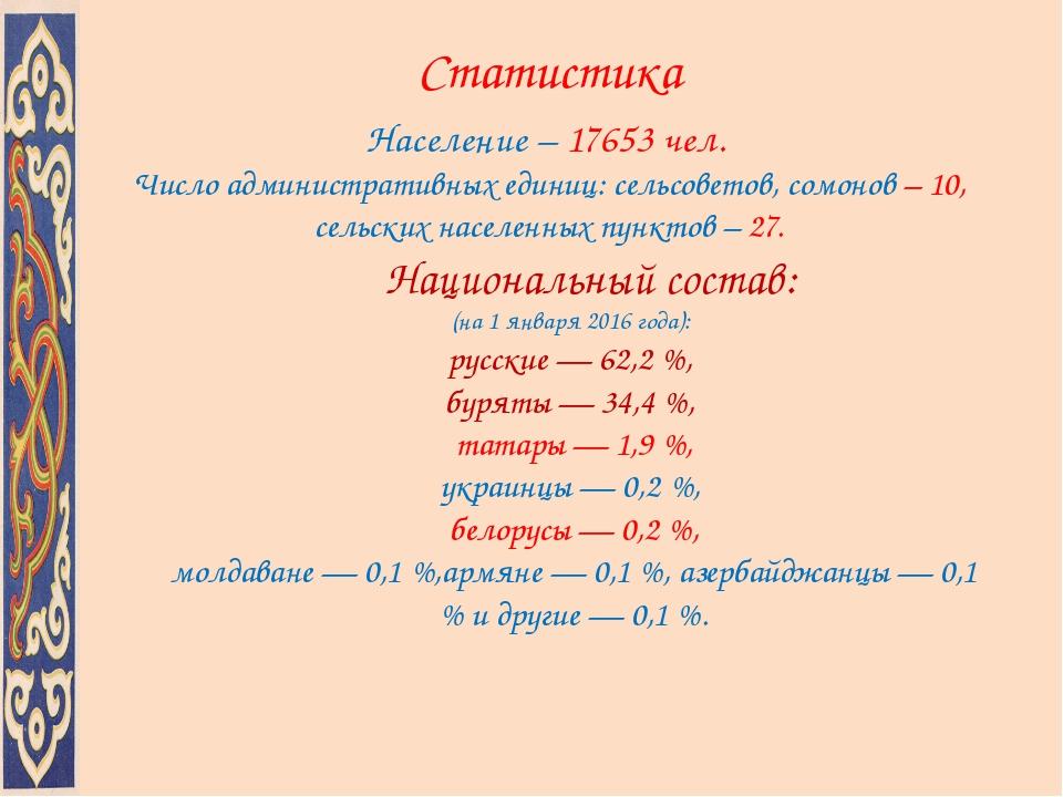 Статистика Население – 17653 чел. Число административных единиц: сельсоветов,...