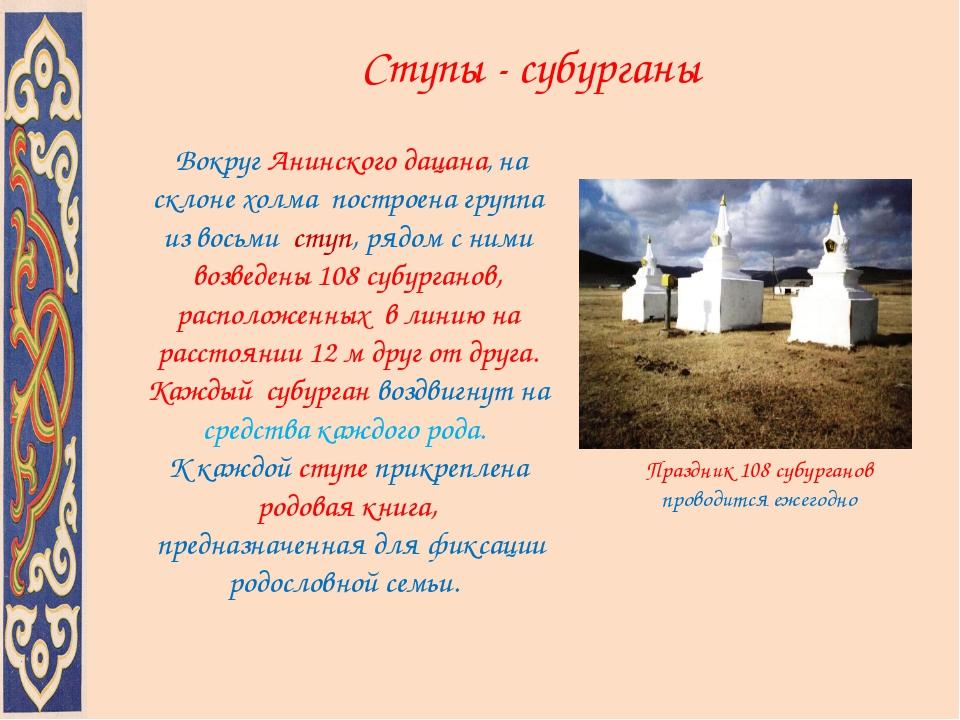 Ступы - субурганы Вокруг Анинского дацана, на склоне холма построена группа и...