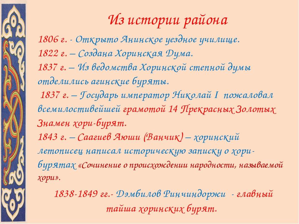 Из истории района 1806 г. - Открыто Анинское уездное училище. 1822 г. – Созд...
