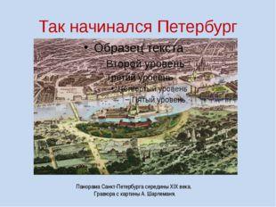 Так начинался Петербург Панорама Санкт-Петербурга середины XIX века. Гравюра