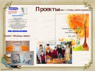 Проекты Проект «Месяцы зимы» Познавательно – творческий проект Осень золото р
