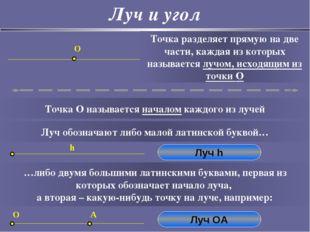 Луч и угол O Точка разделяет прямую на две части, каждая из которых называетс
