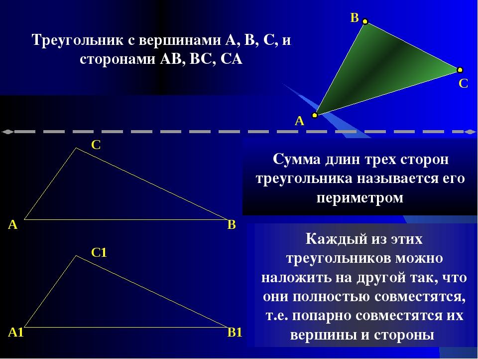 A C B A C B A1 C1 B1 Сумма длин трех сторон треугольника называется его перим...