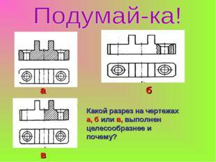 Какой разрез на чертежах а, б или в, выполнен целесообразнее и почему? а б в