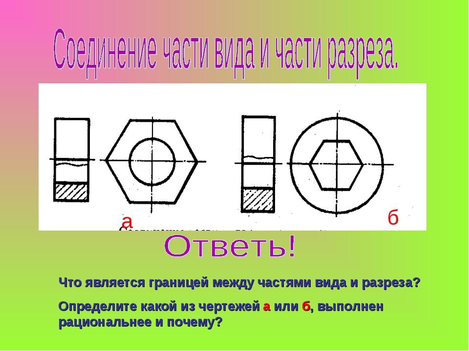 Что является границей между частями вида и разреза? Определите какой из черте...