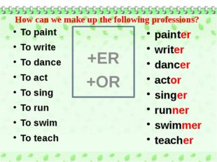 To paint To write To dance To act To sing To run To swim To teach +ER +OR pa