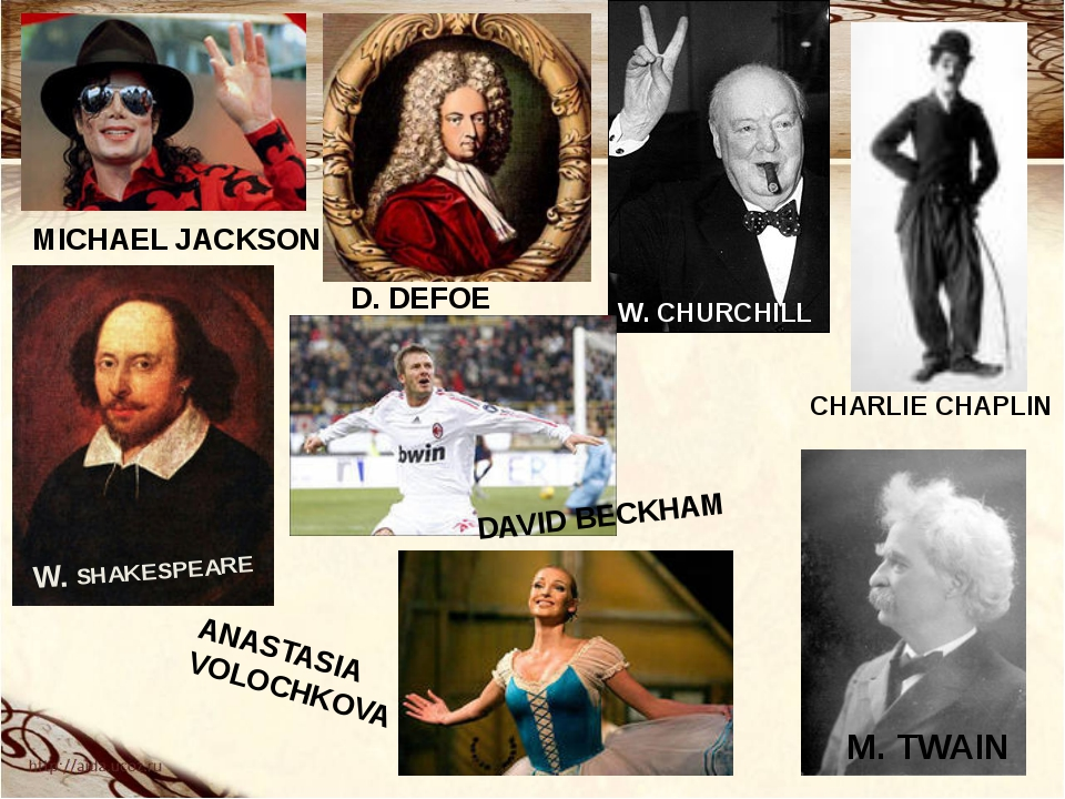 W. CHURCHILL M. TWAIN W. SHAKESPEARE D. DEFOE MICHAEL JACKSON CHARLIE CHAPLIN...