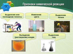 Признаки химической реакции Выделение или поглощение теплоты Изменение цвета