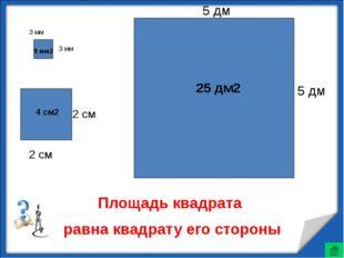 3 мм 3 мм 2 см 2 см 5 дм 5 дм Площадь квадрата равна квадрату его стороны 9