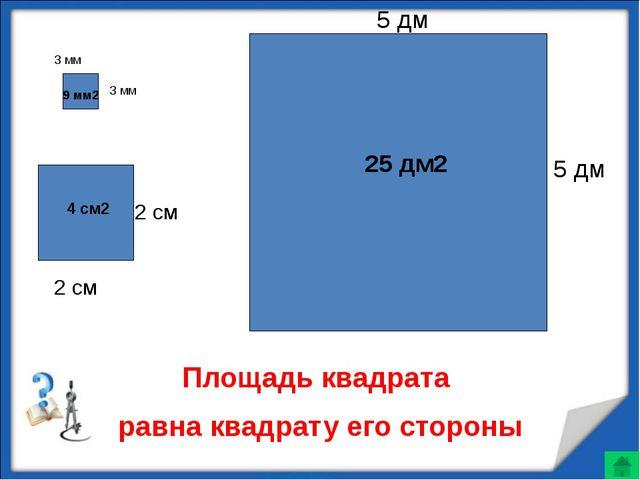 3 мм 3 мм 2 см 2 см 5 дм 5 дм Площадь квадрата равна квадрату его стороны 9...