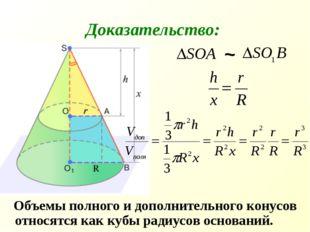 Объемы полного и дополнительного конусов относятся как кубы радиусов основан