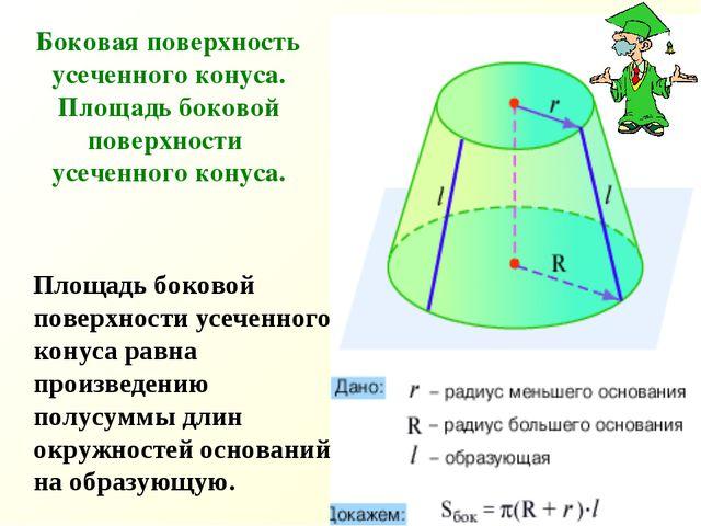 Боковая поверхность усеченного конуса. Площадь боковой поверхности усеченного...