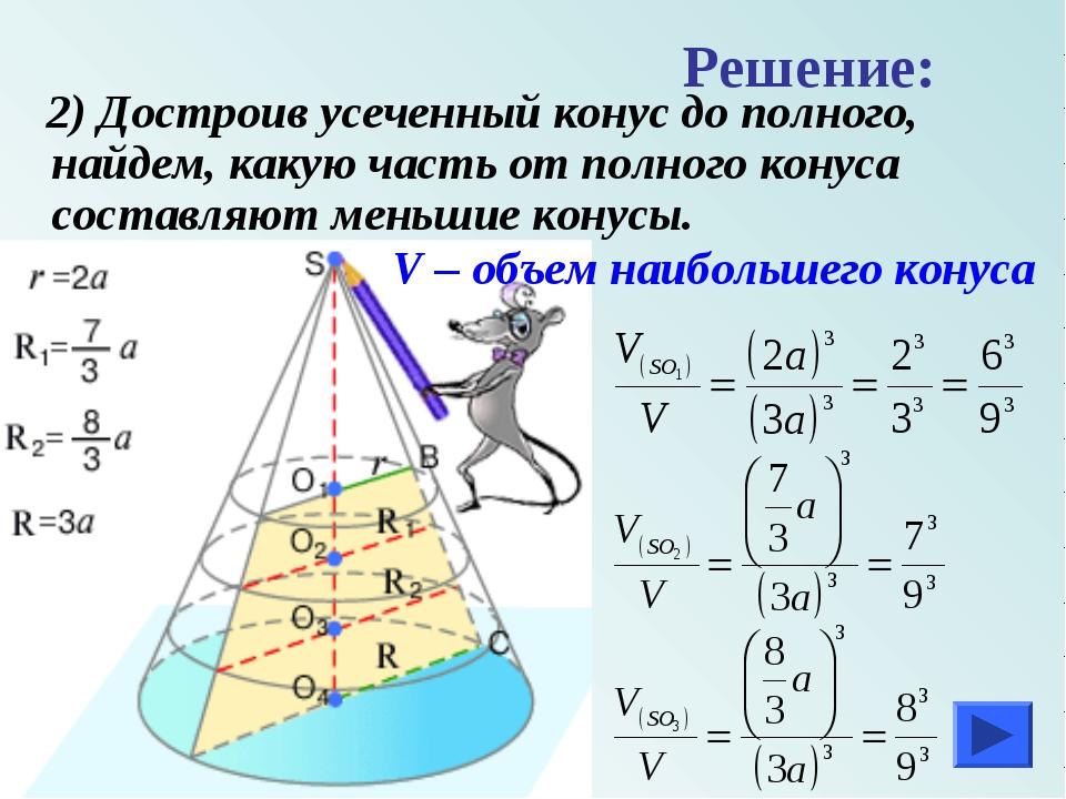 2) Достроив усеченный конус до полного, найдем, какую часть от полного конус...