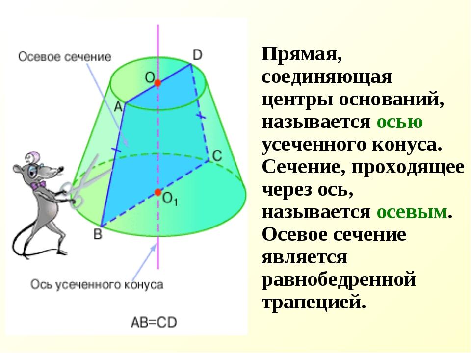 Прямая, соединяющая центры оснований, называется осью усеченного конуса. Сеч...