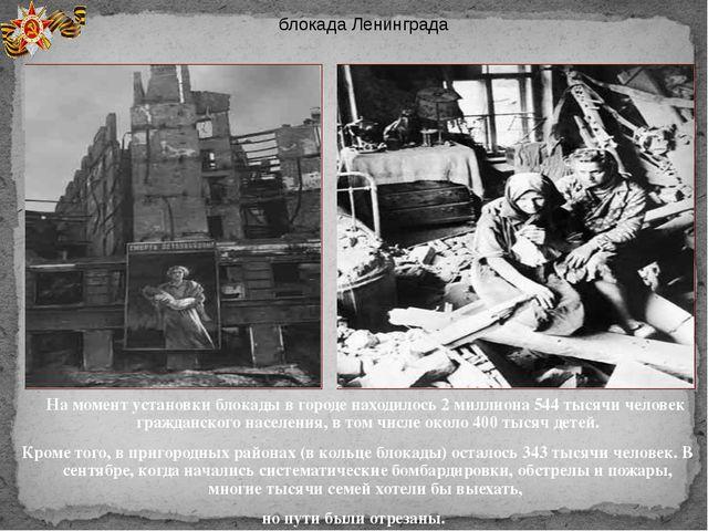 На момент установки блокады в городе находилось 2 миллиона 544 тысячи челове...