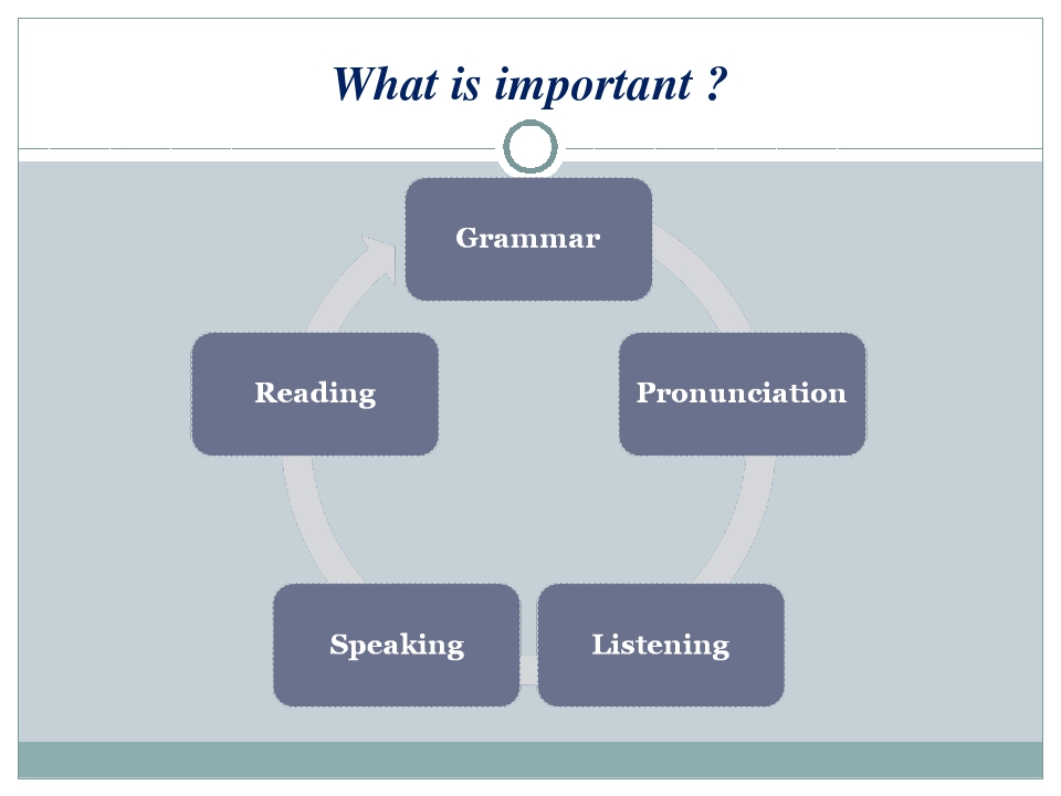 What is important ?