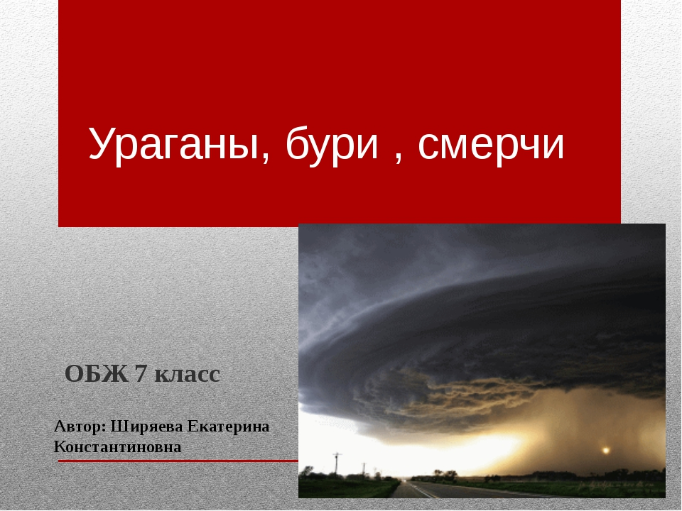 Ураганы, бури , смерчи ОБЖ 7 класс Автор: Ширяева Екатерина Константиновна