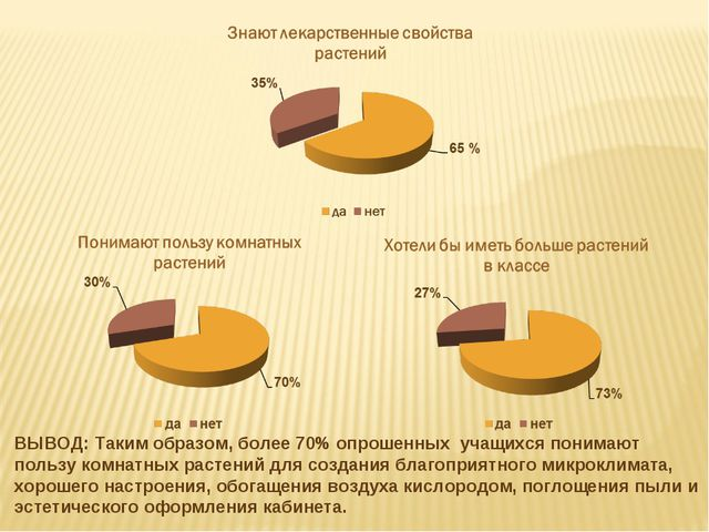 ВЫВОД: Таким образом, более 70% опрошенных учащихся понимают пользу комнатных...