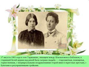 17 августа 1903 года в селе Тараканове, лежащем между Шахматовом и Бобловом,