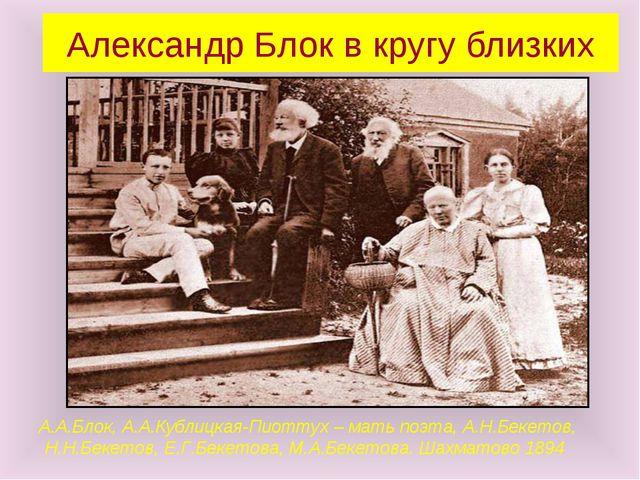Александр Блок в кругу близких А.А.Блок, А.А.Кублицкая-Пиоттух – мать поэта,...