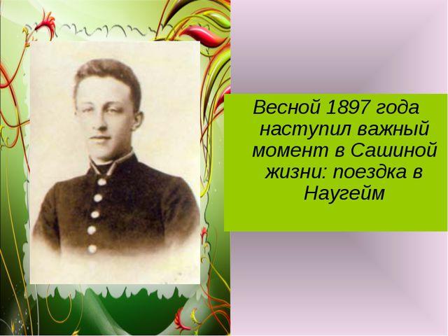 Весной 1897 года наступил важный момент в Сашиной жизни: поездка в Наугейм