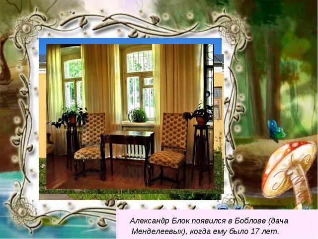 Александр Блок появился в Боблове (дача Менделеевых), когда ему было 17 лет.