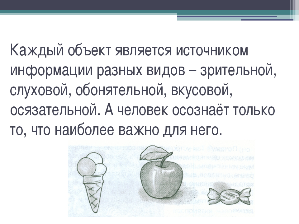 Каждый объект является источником информации разных видов – зрительной, слухо...