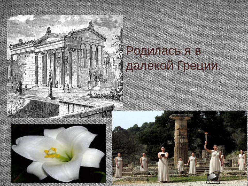 Родилась я в далекой Греции.