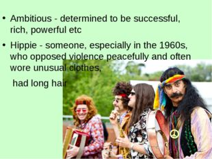 Ambitious - determined to be successful, rich, powerful etc Hippie - someone,