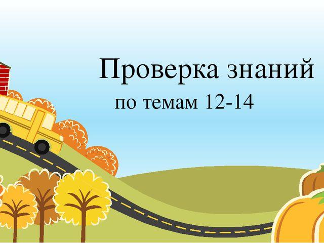 Проверка знаний по темам 12-14