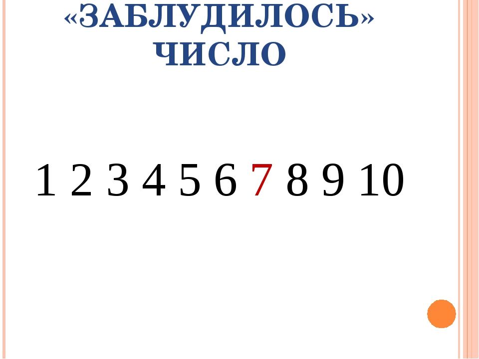 «ЗАБЛУДИЛОСЬ» ЧИСЛО 1 2 3 4 5 6 7 8 9 10